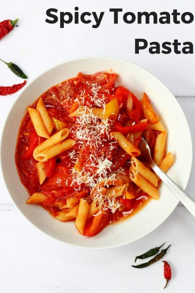 Spicy tomato pasta pin image