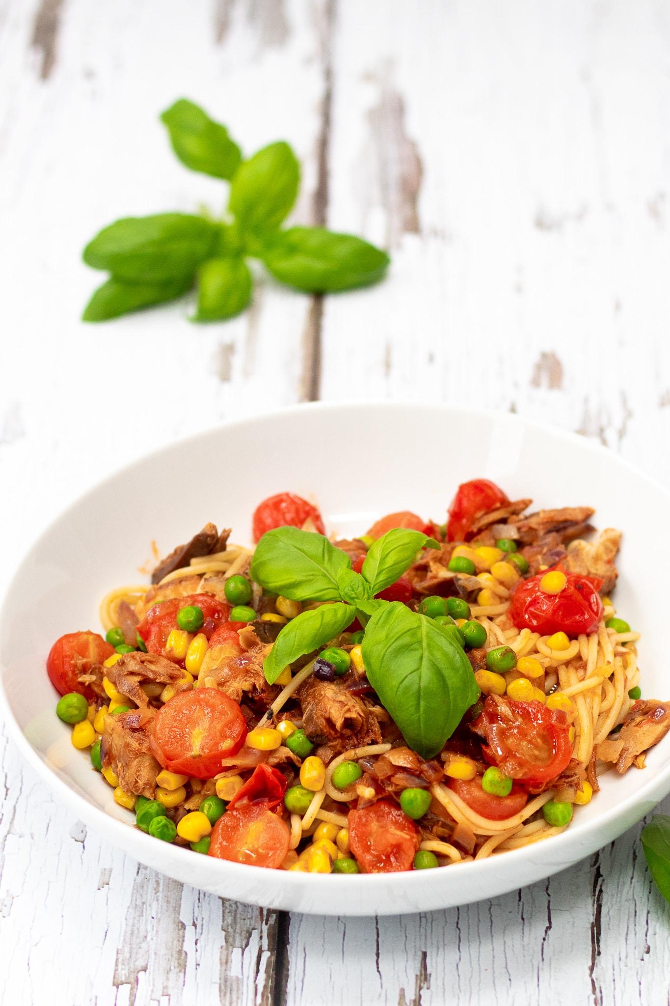 tinned mackerel pasta recipe in a bowl