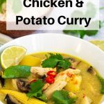 Thai yellow chicken potato curry pin image