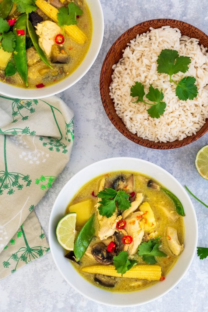 flatlay of Thai yellow chicken curry with rice