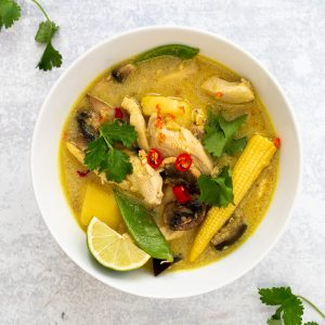 Thai yellow chicken potato curry in a bowl