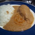 Easy peanut mole with chicken served with rice