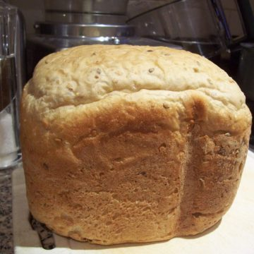 Loaf of homemade bread made in the bread maker