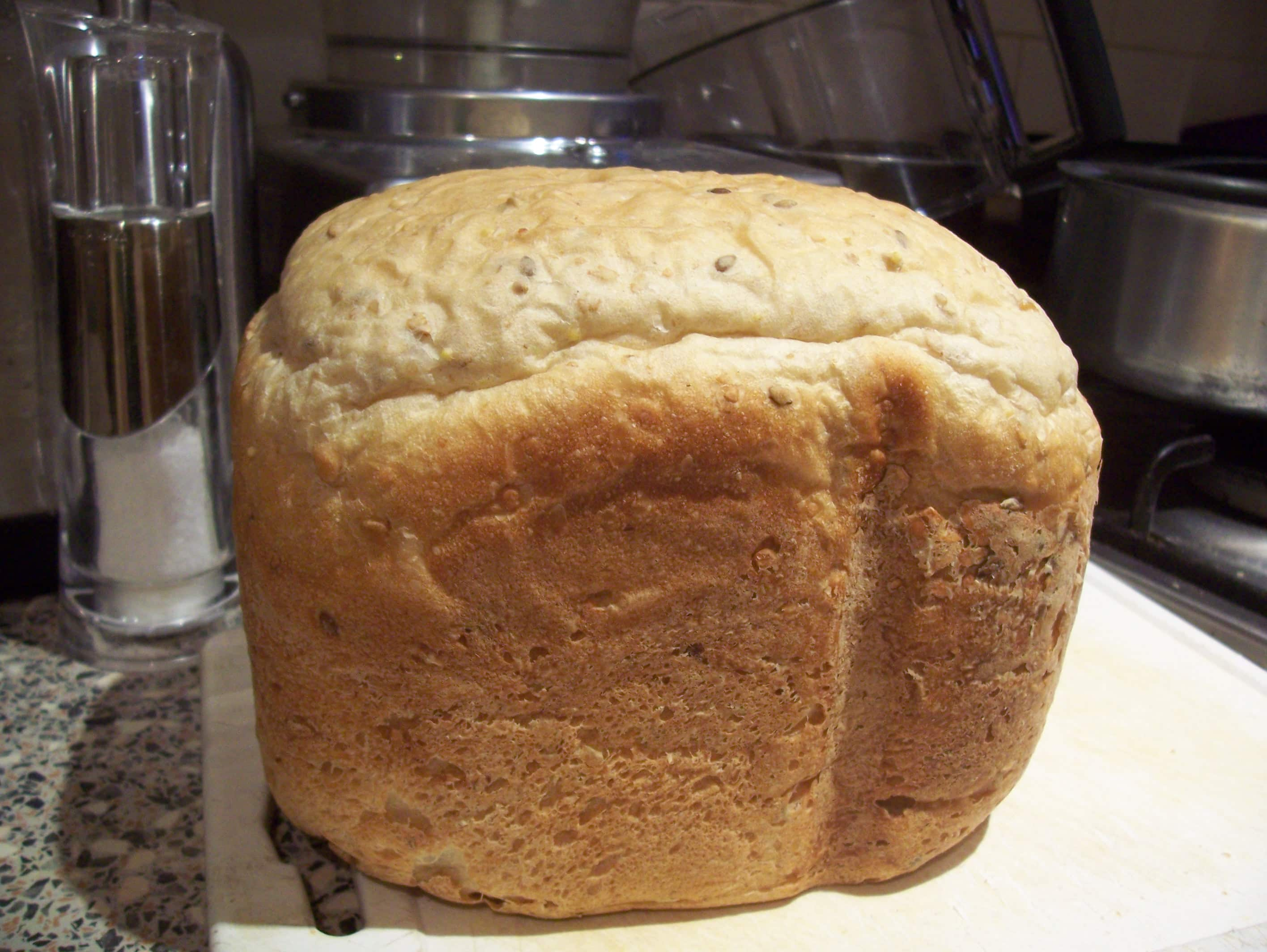 Loaf of homemade breadmaker bread