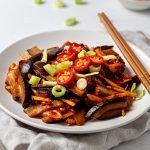 plate of aubergine in chilli bean sauce