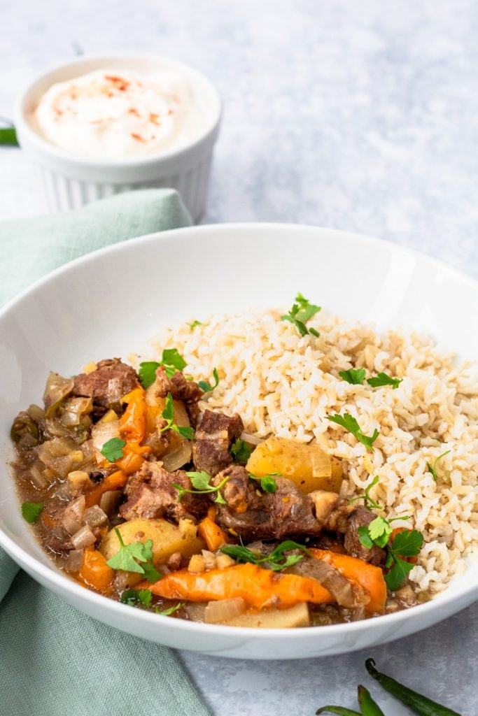 Close up of Bangladeshi beef stew with rice