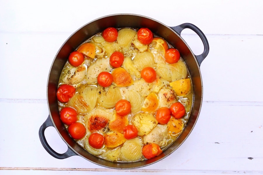 Greek Lemon Chicken with tomatoes and onion