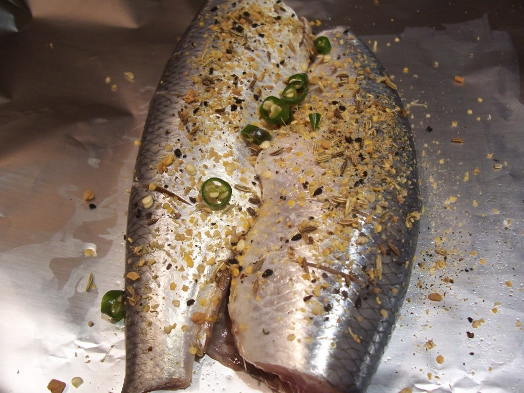 Baked herring with vinegar and pickling spices