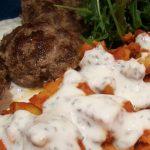 Afghan potato salad with yogurt sauce and Persian beef kebabs