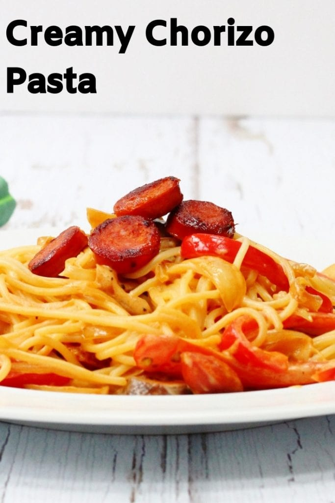 creamy chorizo pasta pin image