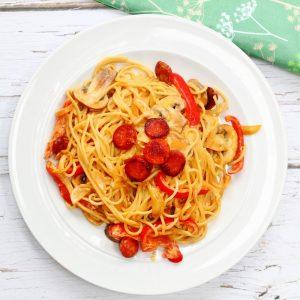 Plate of creamy chorizo pasta