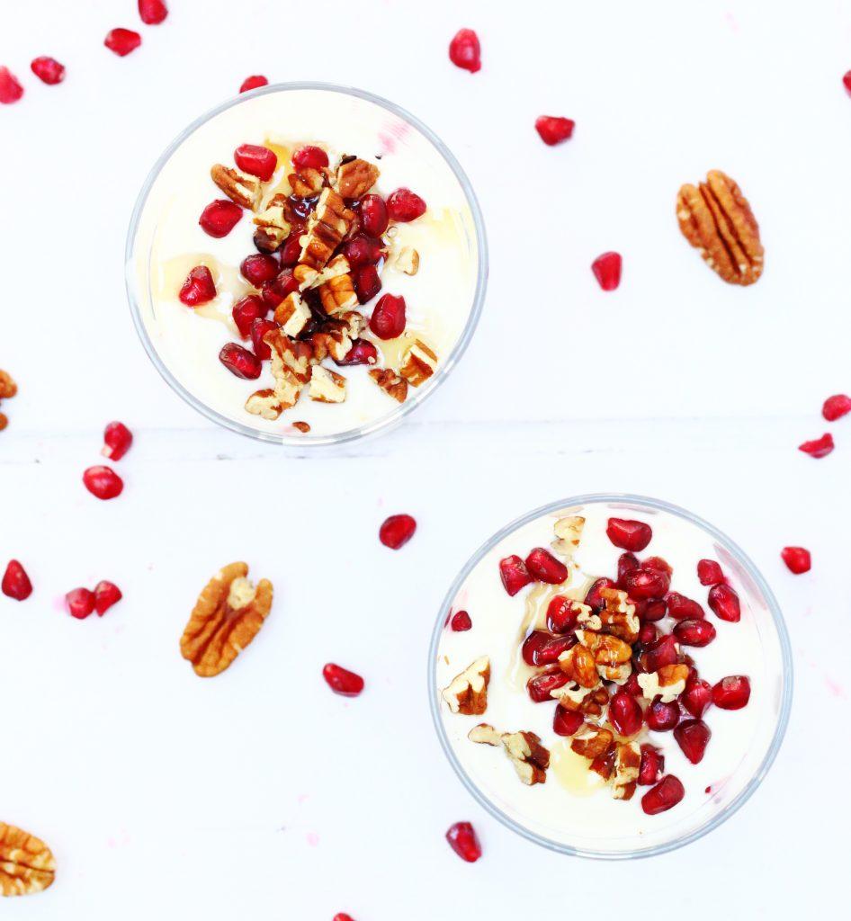 Pomegranate yogurt fool in 2 glasses