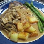 steak in a creamy mushroom and whisky sauce