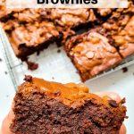 Close up of chocolate brownie pin image