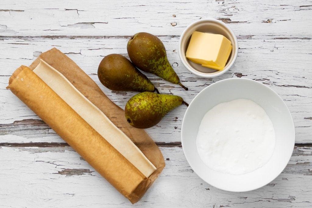 Ingredients for pear tarte tatin
