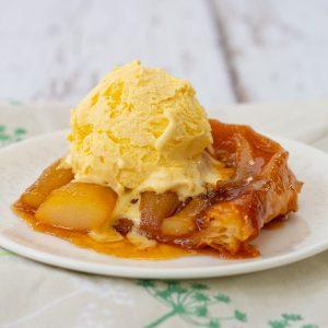 Pear tarte tatin with ice cream