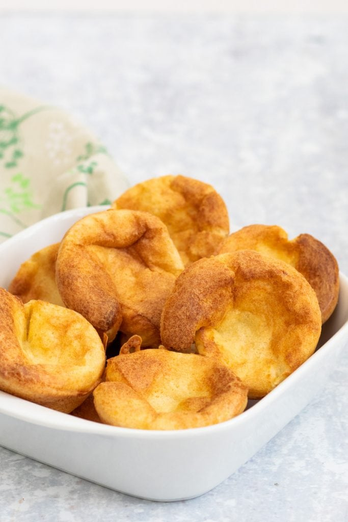 Traditional Yorkshire puddings in a serving dish