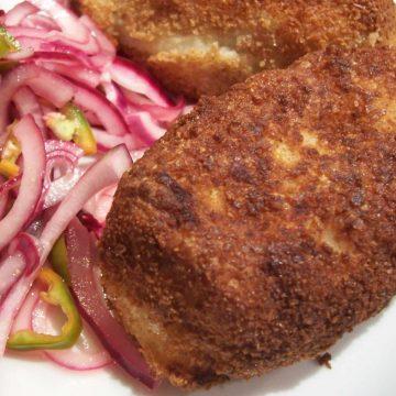 papas rellenas and salsa criolla