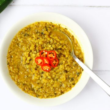 Comforting red lentil soup with Indian spices. This warming lentil soup is sure to warm you up. The curry spices and just a little heat make it a healthy choice for a light vegan meal.