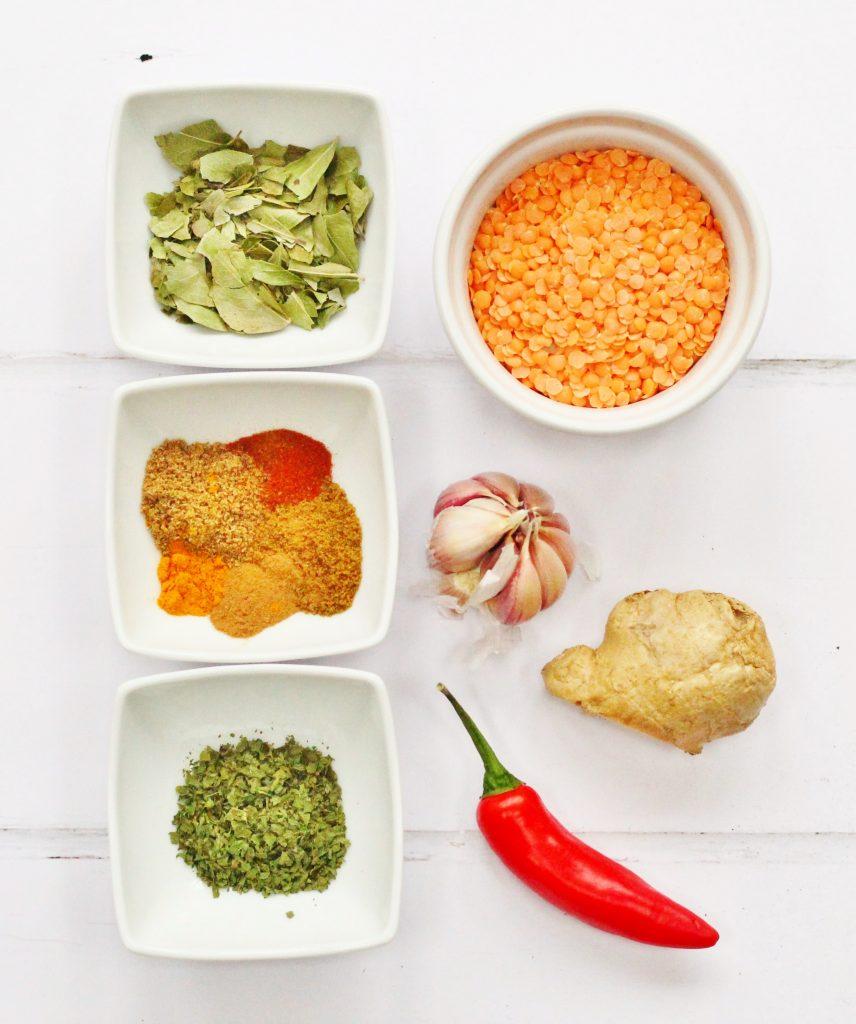 Ingredients for red lentil soup