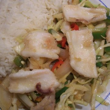 Chinese squid stir fry with rice