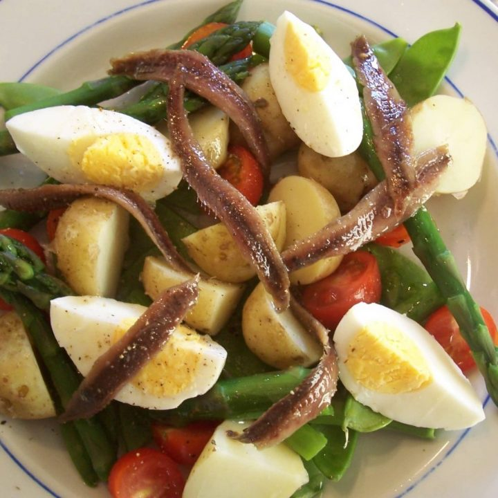 Potato egg anchovy salad