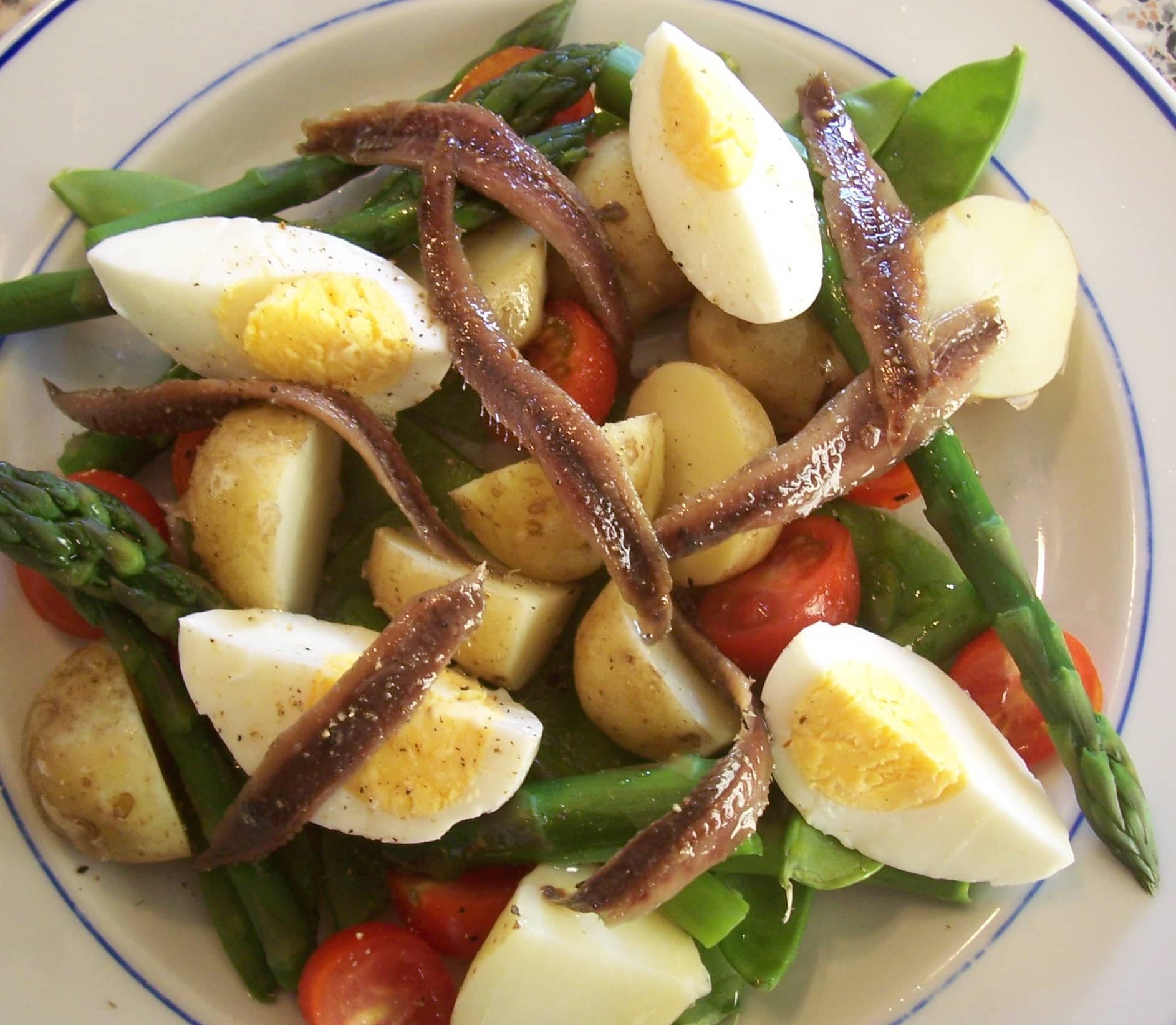 Potato, Egg and Anchovy Salad - Searching for Spice