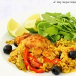 Close up of Puerto Rican chicken and rice recipe