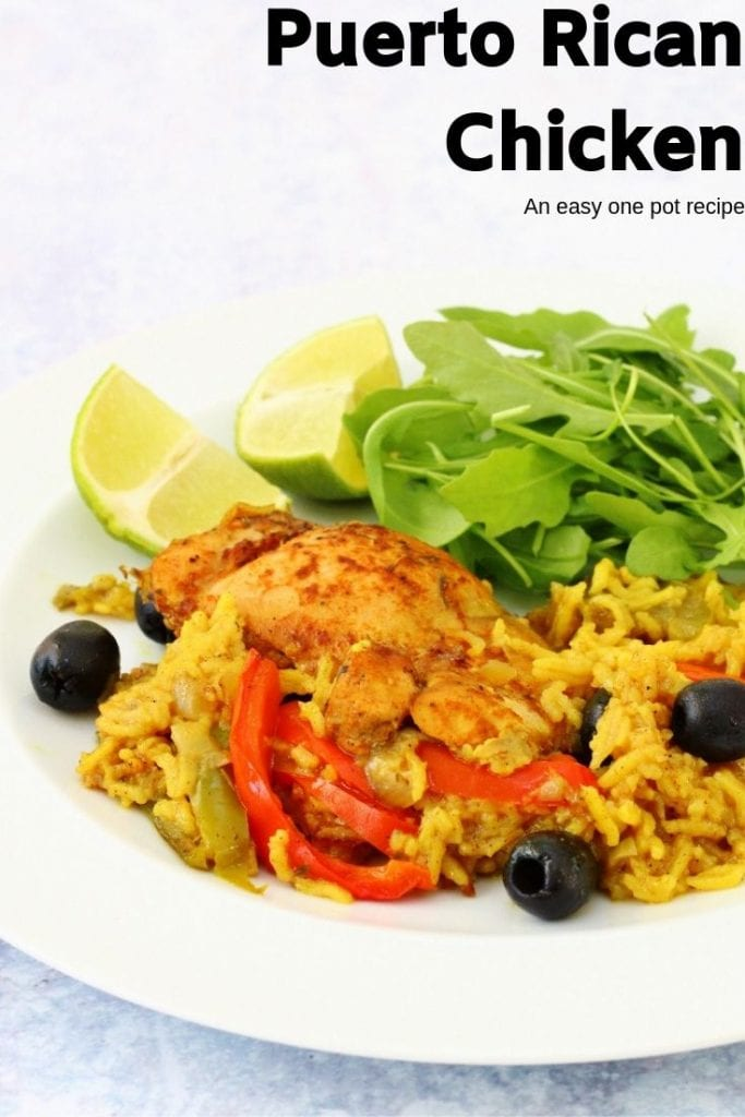 Puerto Rican chicken and rice pin image