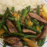 stir fried duck with asparagus and green beans