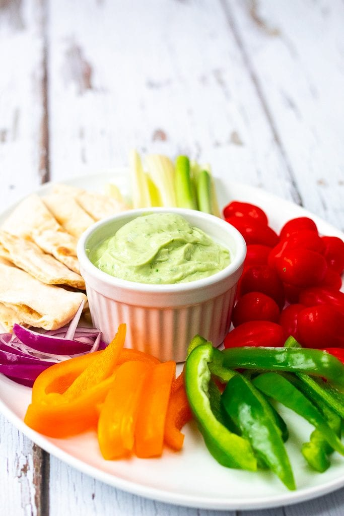 avocado coriander yogurt dip