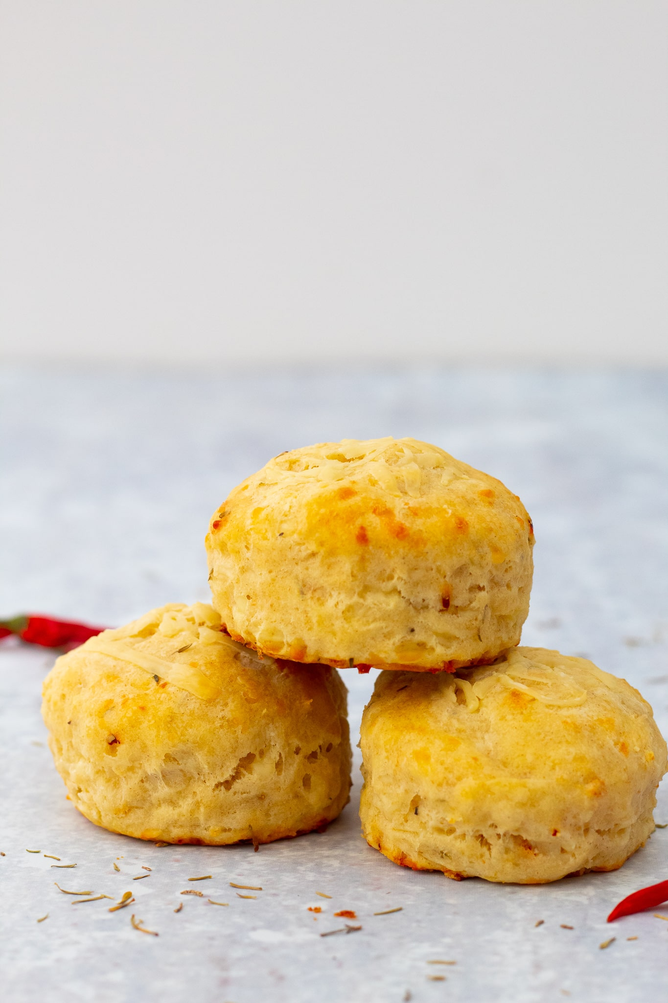 cheese chilli scones stacked up