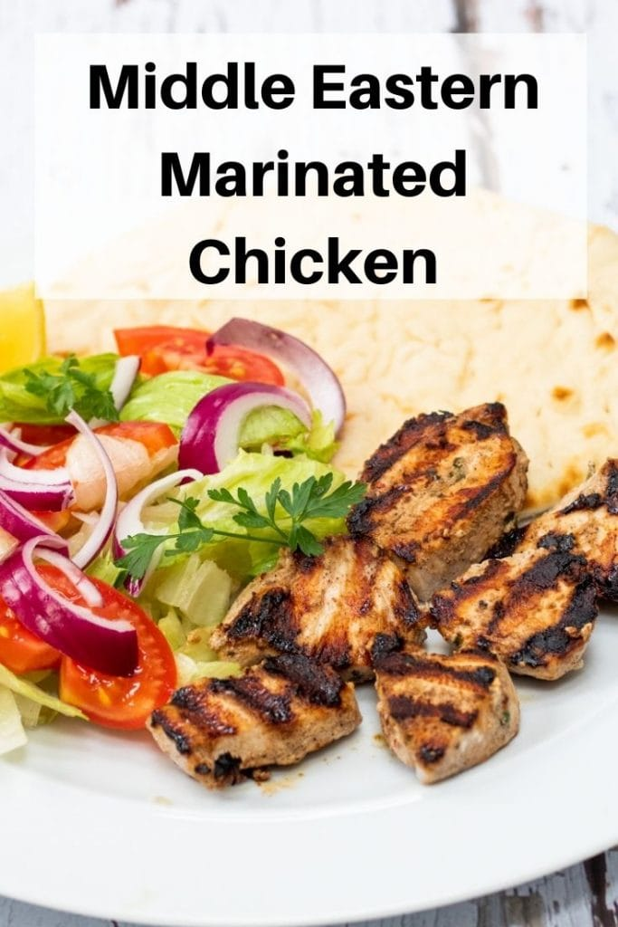 Middle Eastern marinated chicken pin image
