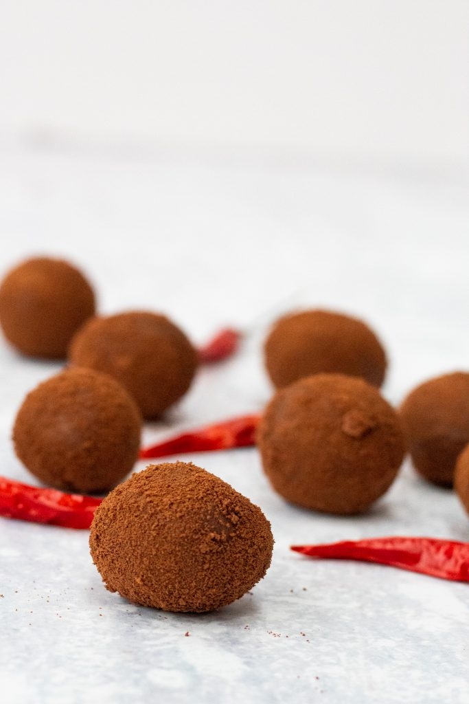 Homemade chocolate truffles flavoured with chilli