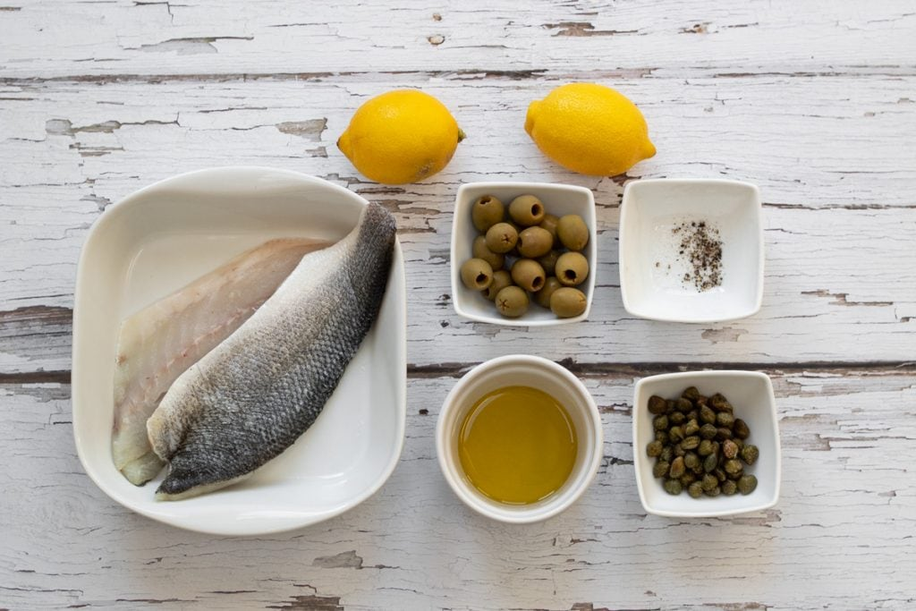 Ingredients for sea bass with olives and capers