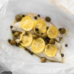 Sea bass with lemon capers and olives