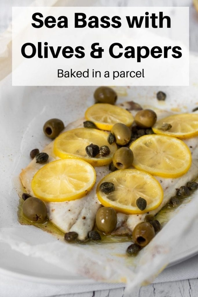 fish with capers and olives pin image