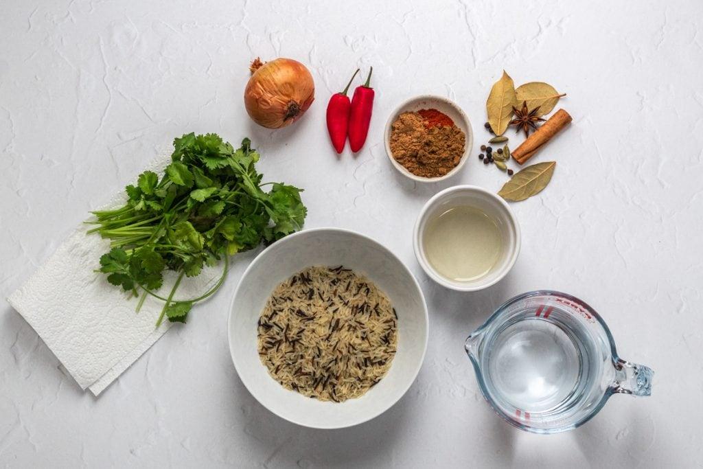 Ingredients for the chicken biryani