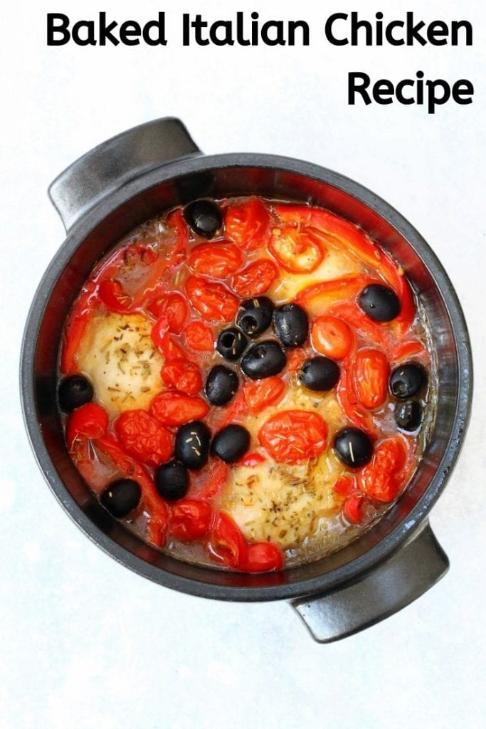 Pot of Italian chicken stew with peppers, olives and tomatoes