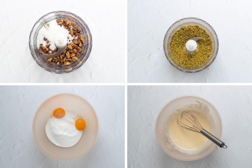 Pistachio cardamom ice cream process shots
