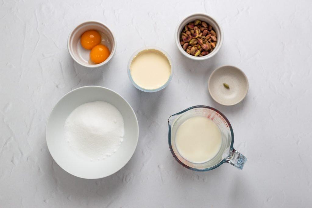 Ingredients for cardamom pistachio ice cream