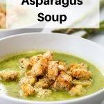 Pea asparagus soup pin image