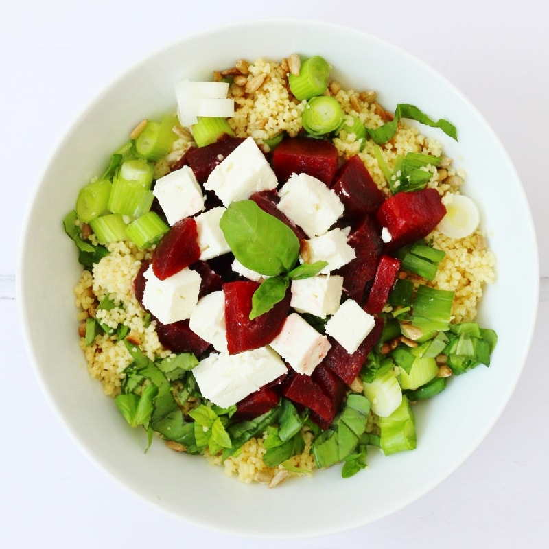 Couscous beetroot and feta salad