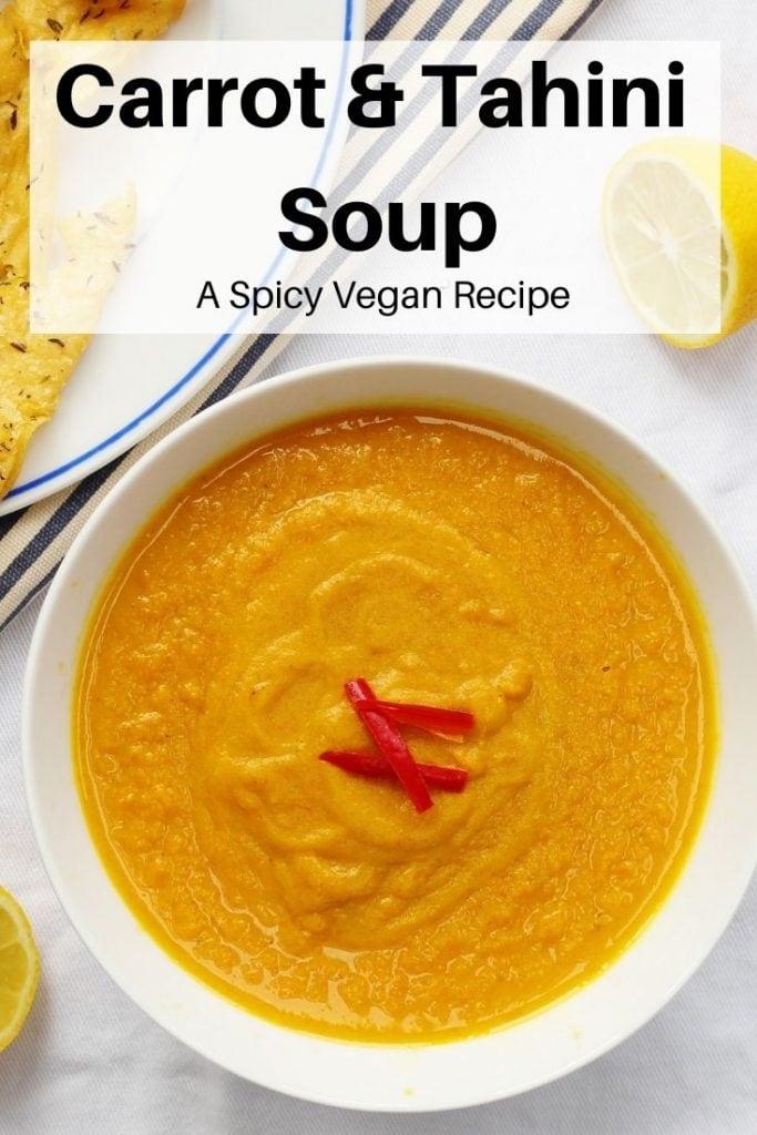 carrot and tahini soup pin image