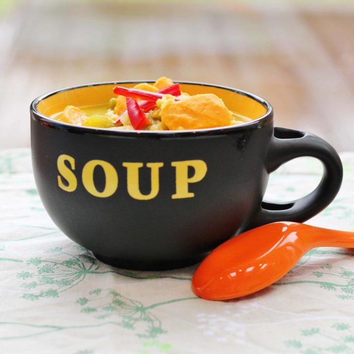 Sweet Potato Lentil and Tahini Soup