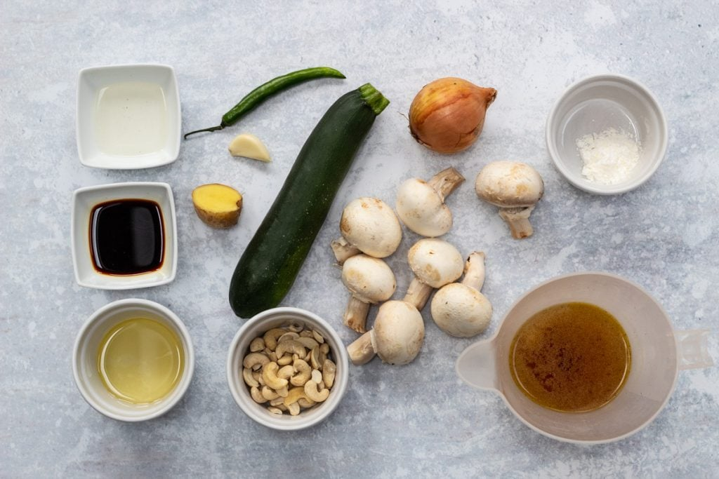 Ingredients for Courgette and mushroom stir fry