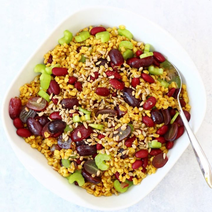 Curried pearl barley salad with grapes, kidney beans and celery