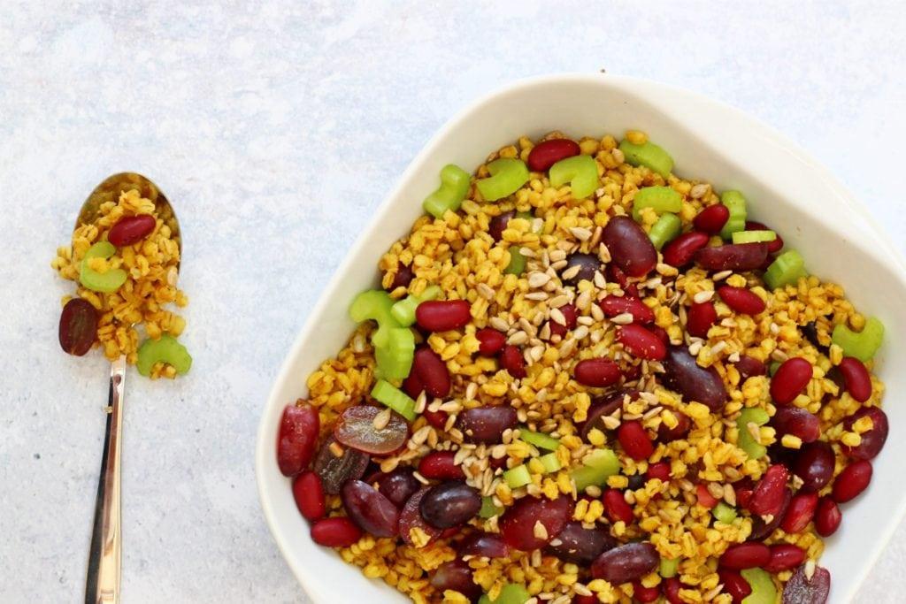 bowl of spicy pearl barley salad