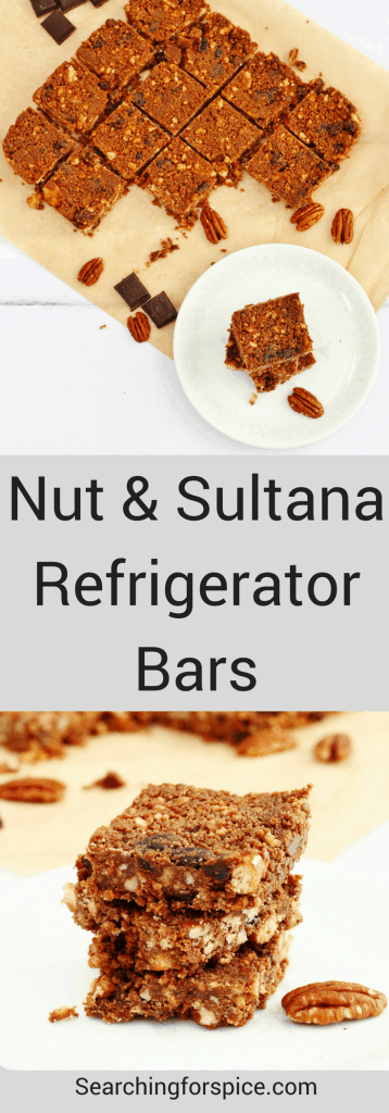 These nut and sultana refrigerator bars are perfect for an afternoon or mid-morning snack.  The recipe is so easy to make that your children can even help you make them. #refrigeratorcake #tiffin #bars #chocolate #snacks #nobake #easyrecipes