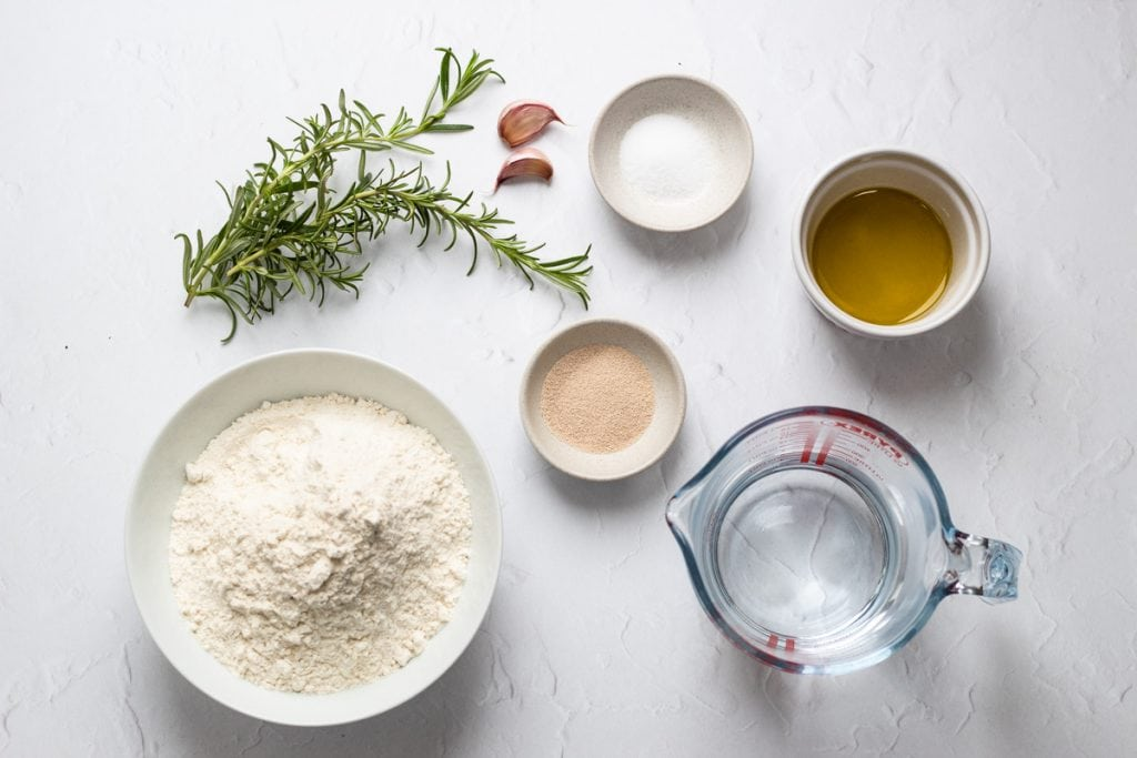 Ingredients for breadmaker focaccia with garlic and rosemary